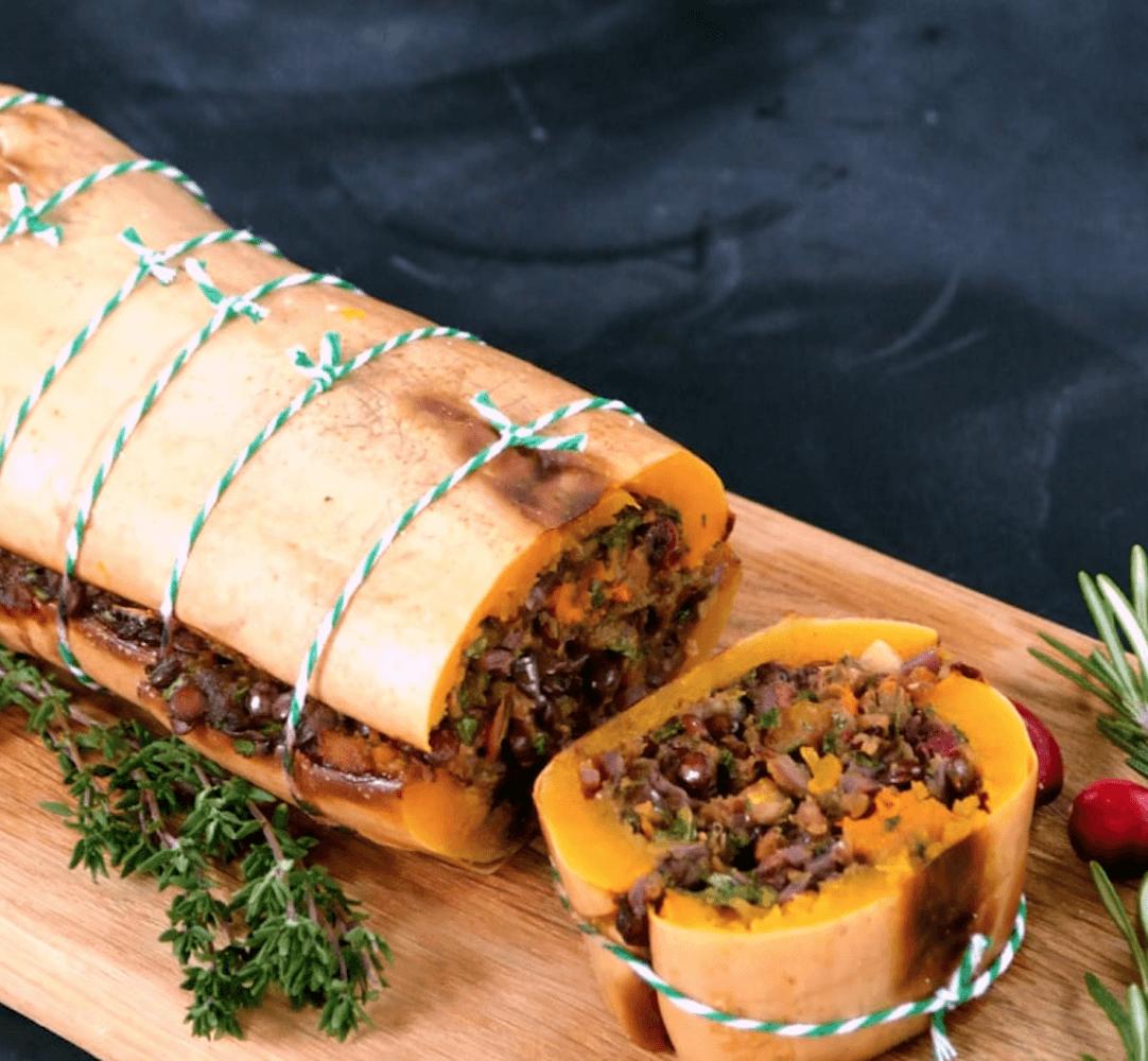 Butternut Rotie Pour Repas De Noel Vegan