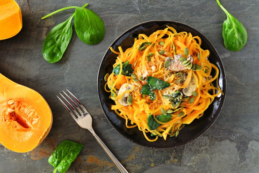 Courge Spaghetti Herbes Citron Crevettes Grillees