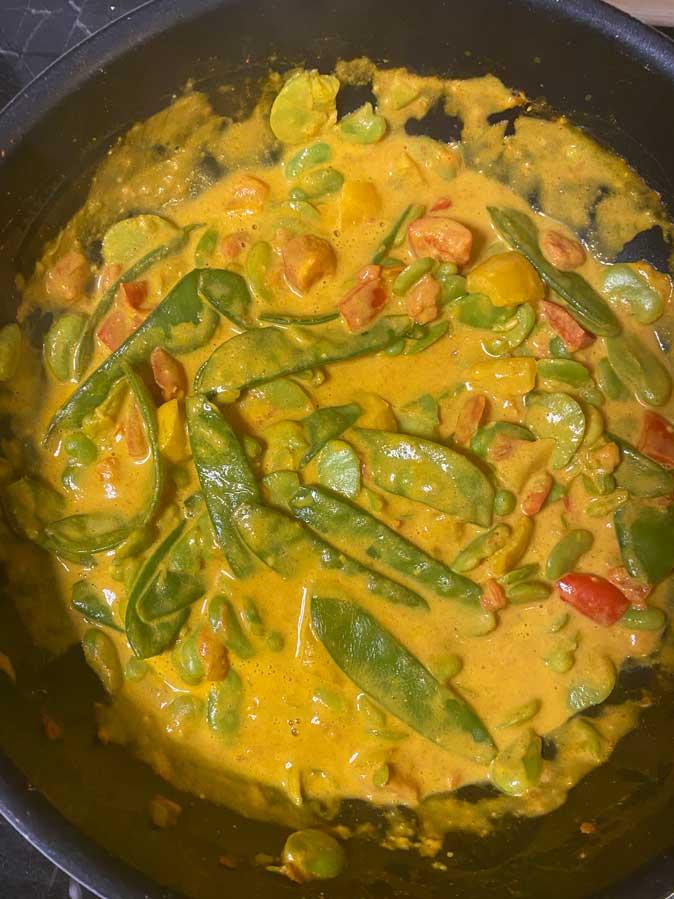 Wok de légumes curry-coco